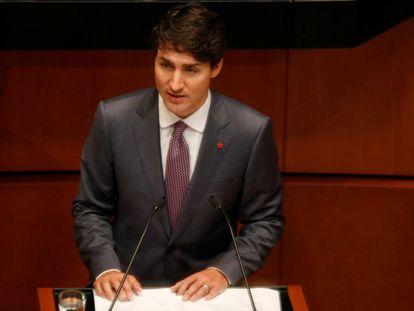 Justin Trudeau en el Senado mexicano.