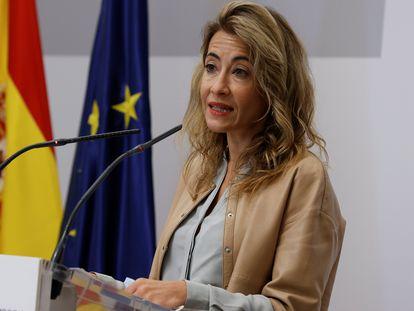 La ministra de Transportes, Movilidad y Agenda Urbana, Raquel Sánchez, este miércoles en la sede del ministerio durante la presentación del DORA 2.