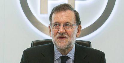 Mariano Rajoy, al inicio de la reunión del Comité de Dirección del Partido Popular.