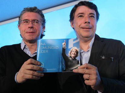 Francisco Granados (izquierda) e Ignacio González presentan el programa del PP de Madrid para las autonómicas de 2011.