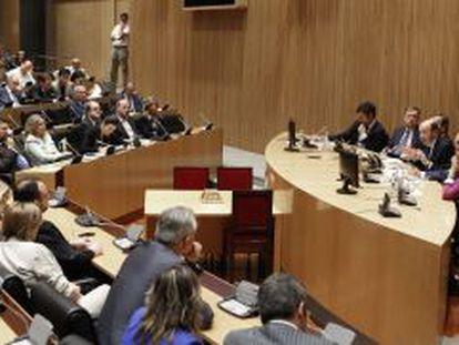 Rubalcaba, en la reunión del Grupo Parlamentario Socialista en el Congreso.