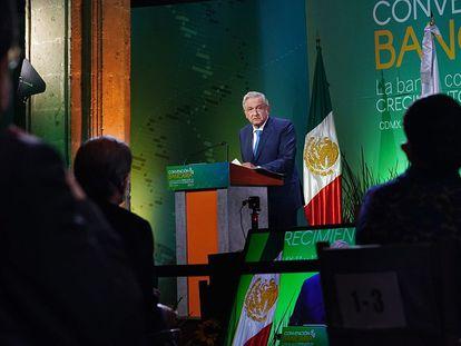 El presidente de México, Andrés Manuel López Obrador, durante la clausura de la 84ª Convención Bancaria.