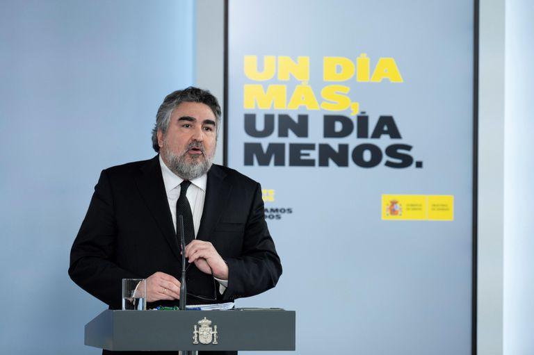 El ministro de Cultura y Deporte, José Manuel Rodríguez Uribes, durante la rueda de prensa posterior a la reunión del Consejo de Ministros, este martes.