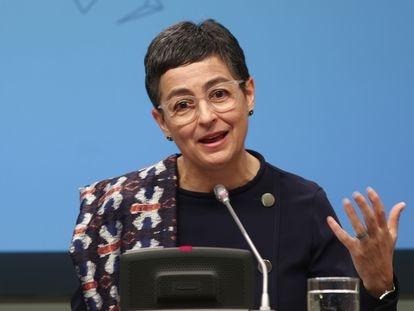 Arancha González Laya, en rueda de prensa en el Palacio de Viana, sede de Exteriores, el pasado 9 de marzo.