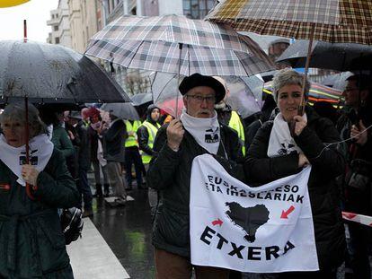 Imagen de la manifestación celebrada en Bilbao el pasado enero a favor del acercamiento de los presos de ETA.