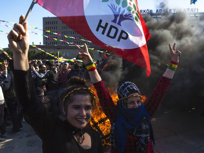 Manifestación de seguidores del HDP en Estambul el pasado marzo.