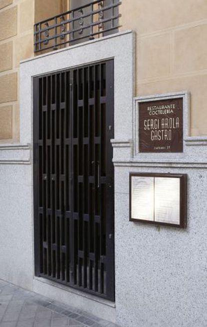 Puerta del restaurante Sergi Arola Gastro, esta tarde.
