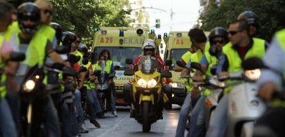 Manifestación en Atenas de médicos y enfermeros contra los recortes.