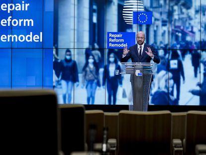 El presidente del Consejo Europeo, Charles Michel, este viernes en Bruselas.