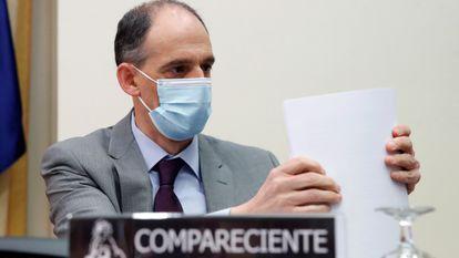 Manuel Morocho, inspector jefe de la policía, durante su comparecencia en el Congreso, el 25 de marzo.