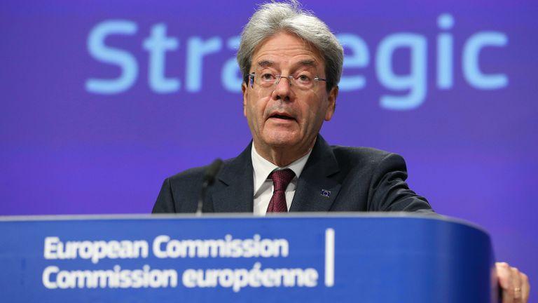 El comisario europeo de Economía, Paolo Gentiloni, en una rueda de prensa el 29 de mayo.