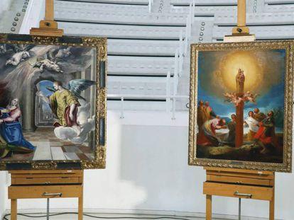 Las obras de El Greco y Goya en junio de 2017, cuando fueron depositados en el MNAC.
