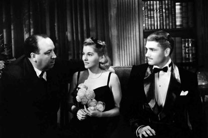 Alfred Hitchcock, Joan Fontaine y Laurence Olivier, en el rodaje de 'Rebeca'.