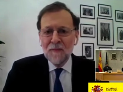 Mariano Rajoy, durante su declaración como testigo en el juicio por la caja b del PP.