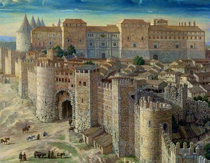 Detalle de Madrid en 1561. vista del real Alcázar de lso Austrias, residencia de Felipe II en Madrid