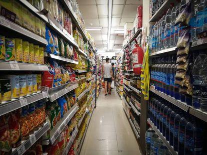Un pasillo de un supermercado de Buenos Aires.