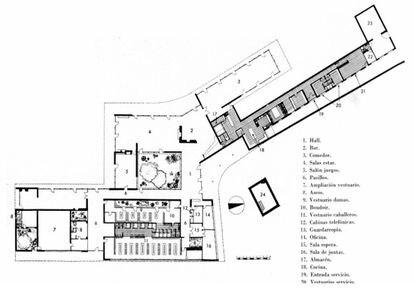Plano del edificio de Coderch para la sede social del Real Club de Glof de El Prat (1954).