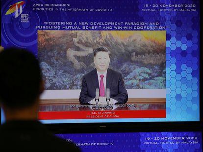El presidente chino, Xi Jinping, durante su discurso ante la APEC.
