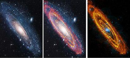 La galaxia vecina Andrómeda, fotografiada en luz visible (izquierda), en rayos XX con  el telescopio <i>XMM-Newton</i> (centro) y en infrarrojo, con el <i>Herschel</i>.