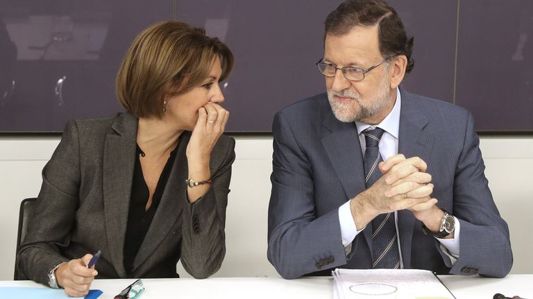 María Dolores de Cospedal and Mariano Rajoy, at a meeting of the PP executive in 2016.