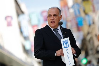 Javier Tebas during act supporting the Santander league for its return to competition in Madrid June 10, 2020