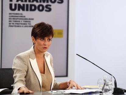 La ministra de Política Territorial y portavoz del Gobierno, Isabel Rodríguez, en la rueda de prensa tras el Consejo de Ministros, este martes.