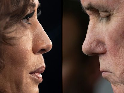 (COMBO) This combination of pictures created on October 6, 2020 shows Democratic vice presidential candidate Kamala Harris on June 27, 2019 and US Vice President Mike Pence on March 15, 2020. - Harris hopes to deploy her former prosecutor's repertoire against Pence on October 7, 2020, during the only televised debate between the candidates for the vice-president of the United States. (Photos by SAUL LOEB and JIM WATSON / AFP)