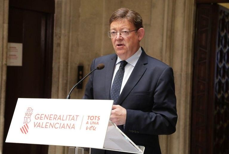 El presidente de la Generalitat valenciana, Ximo Puig, en una comparecencia pública este agosto.