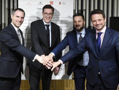 Desde la izquierda, los alcaldes de Praga, Zdenek Hrib; Budapest, Gergely Karacsony; Bratislava, Matus Vallo y Varsovia, Rafal Trzaskowski, este jueves en la capital húngara.