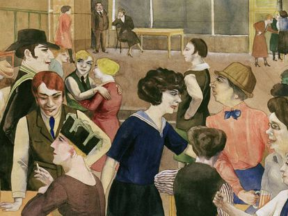 La obra 'Damenkneipe' (Club de mujeres), del artista alemán Rudolf Schlichter, c. 1925.