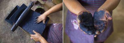 Juana Gutiérrez muele añil para sus textiles.