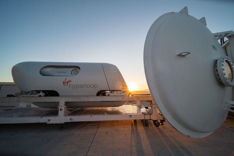 El XP-2 diseñado por Virgin Hyperloop antes de la prueba de velocidad en Las Vegas (Nevada).