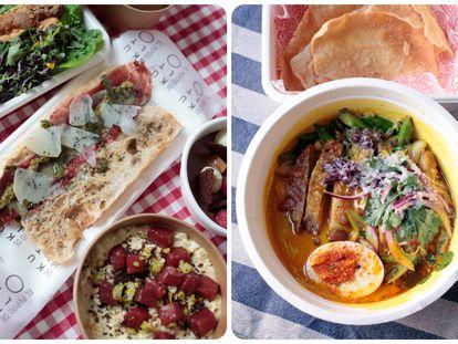 Pepito de pan de cristal con lámina de vaca rubia gallega madurada, Satay de atún y ensaladilla rusa de KultO y curry ají de gallina de El Triperito