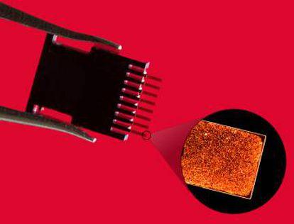 El dispositivo sensor y una imagen de una detección de un biomarcador.