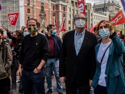 Pablo Iglesias (PODEMOS), Ángel Gabilondo (PSOE), y Mónica García (Más Madrid), durante la manifestación del 1 de Mayo.