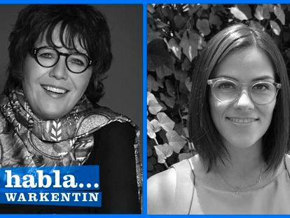 Las periodistas Gabriela Warkentin y Paulina Chavira.