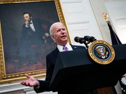 Biden durante su primera conferencia de prensa como presidente de EE UU, el pasado viernes en Washington.