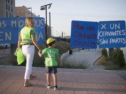 El colegio Cervantes, de Getafe, que empezó el pasado septiembre en obras.