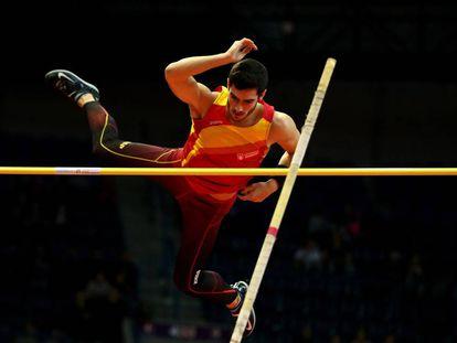 Ureña, durante la prueba de salto de altura.