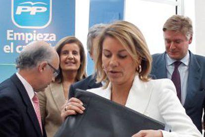 Dolores de Cospedal durante el foro pymes del PP en Valencia.