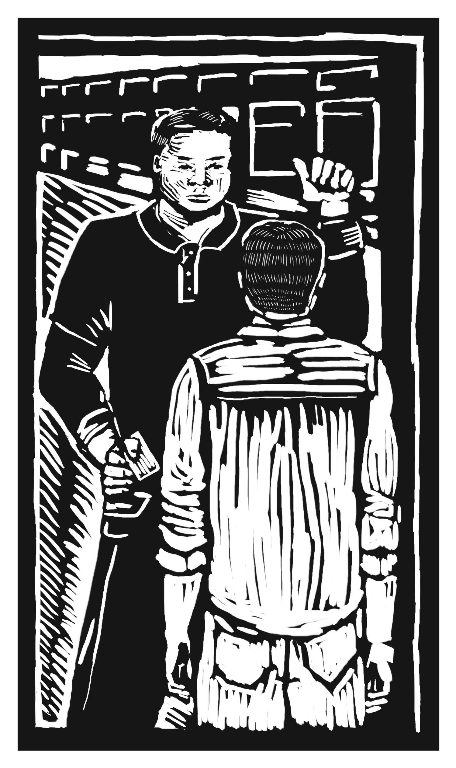 Ilustración de una escena de fábrica. Un supervisor revisa el documento de identidad de un obrero adolescente.
