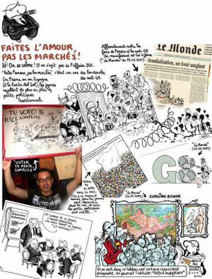 Collage del dibujante del diario francés Le Monde, Jean Plantu, sobre las protestas del 15-M.