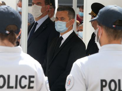 El ministro del Interior francés, Gerald Darmanin, durante un acto en una comisaria el 26 de julio en Saint-Dizier.