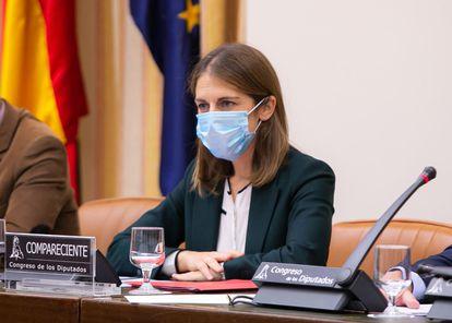 La candidata a presidir el FROB, Paula Conthe Calvo, comparece este miércoles en la comisión de asuntos económicos del Congreso de los Diputados.