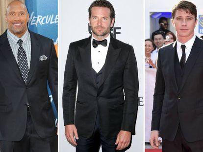 Los actores Dwayne Johnson 'La Roca', Bradley Cooper y Garrett Hedlund.