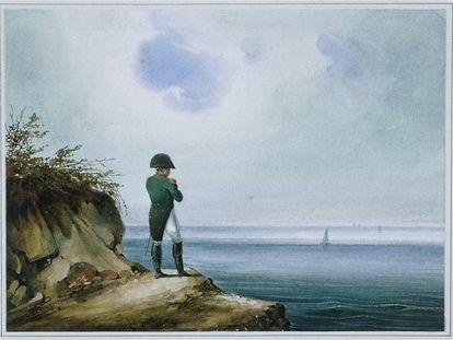 Napoleón en Santa-Helena en una pintura de la época.