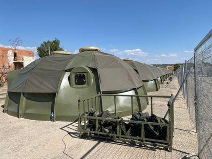 Alojamiento provisional en la base de Torrejón de Ardoz (Madrid) para los afganos que han sido evacuados de Kabul.