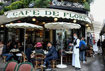 The terrace of the Café de Flore in Paris this Thursday.