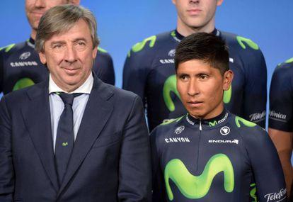 Eusebio Unzue y Nairo Quintana, en enero de 2015.