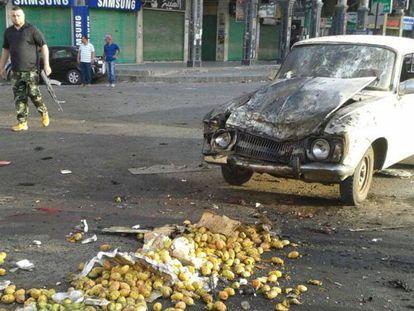 Daños provocados por un ataque con bomba en Sueida, al sur de Siria.